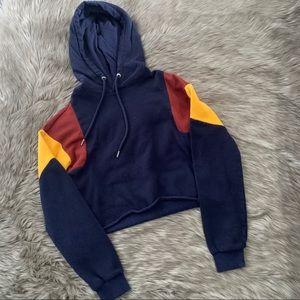 Garage cropped colorblock hoodie
